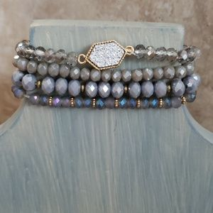 Jewelry - GEENA Gray Druzy Bead Bracelets